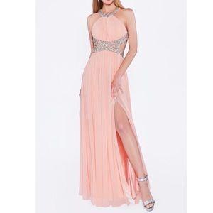 A-line stretch net dress with halter neckline